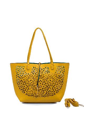 e1ea9a179cc RIB bags Cutwork Shoulder Bag Mustard exterior and Green Interior handbag  for rent