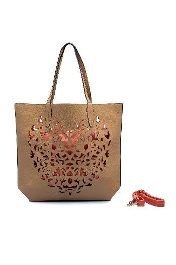 5bbea9d9c5 RIB bags Cutwork Tote Bag Fawn exterior and Peach interior handbag for rent
