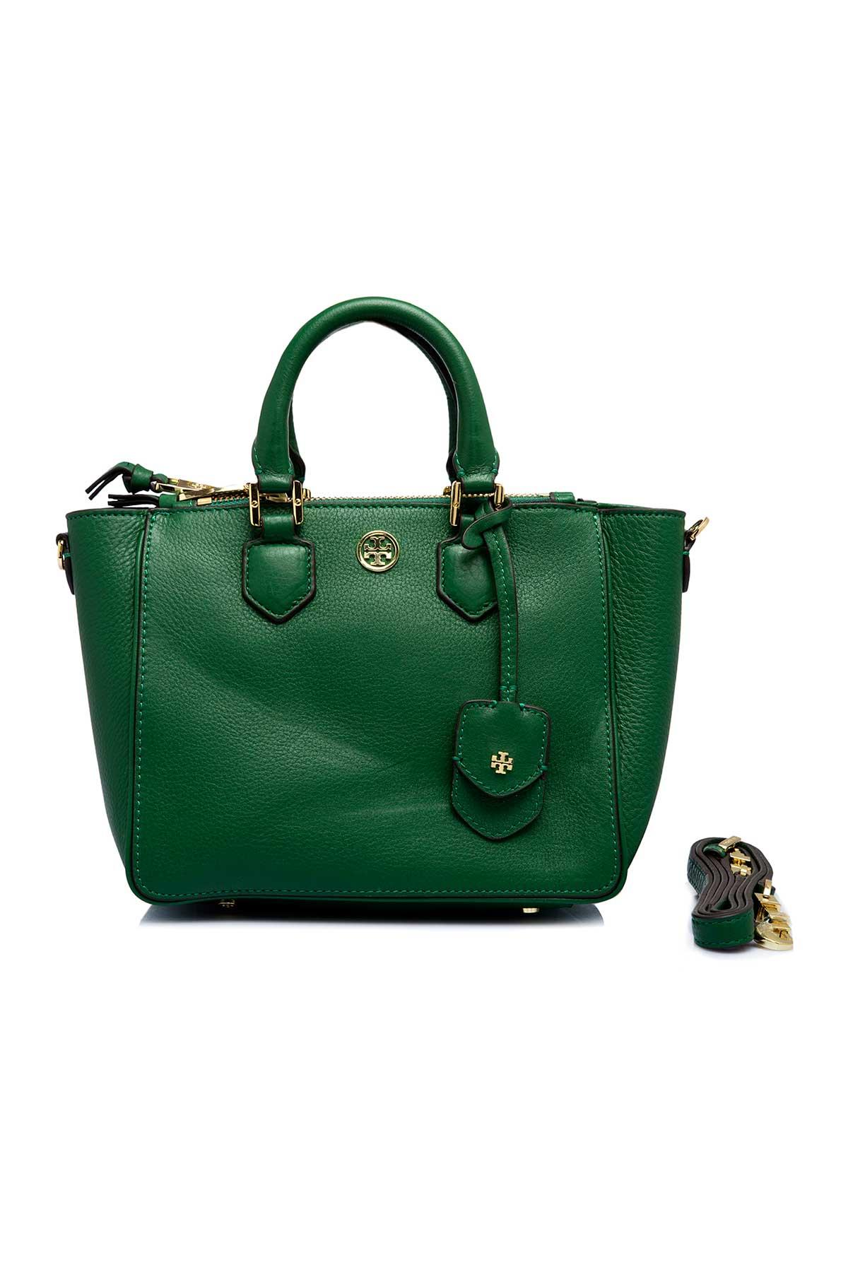 3d55ae659c15 Green Mini Square Tote by Tory Burch for rent online