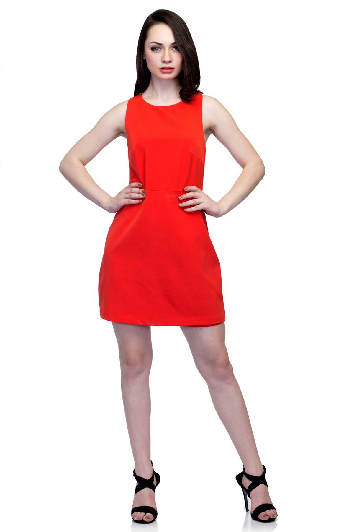 1b9a05a1e25 Red Dress with cut outs and zip by Zara for rent online