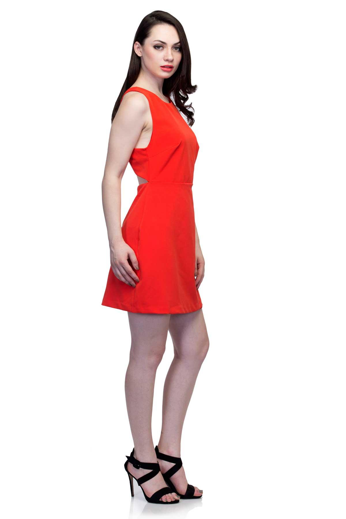 9ed5a889613 ... Zara clothing Dress with cut outs and zip Red dress for rent ...