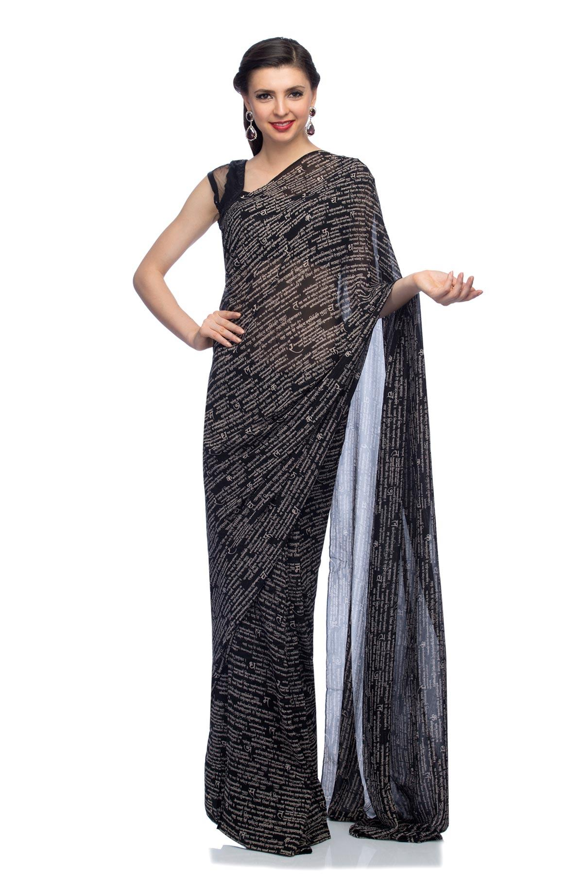 614b603695 Black The Shlok Saree by Satya Paul for rent online | RENT IT BAE