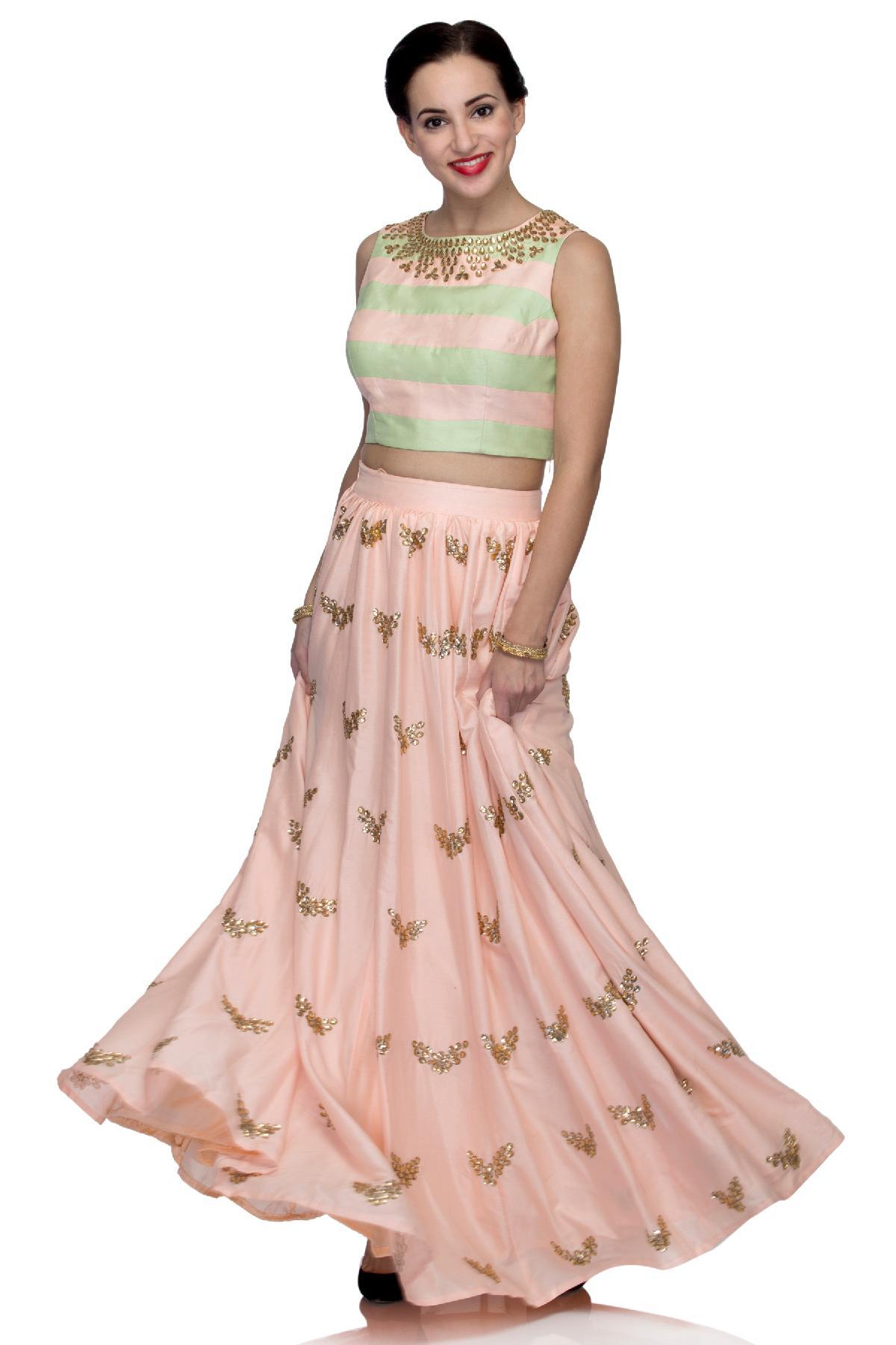 8f148551cc57 Mint Green and Peach Stone Work Crop Top and Skirt by Trinesha's ...