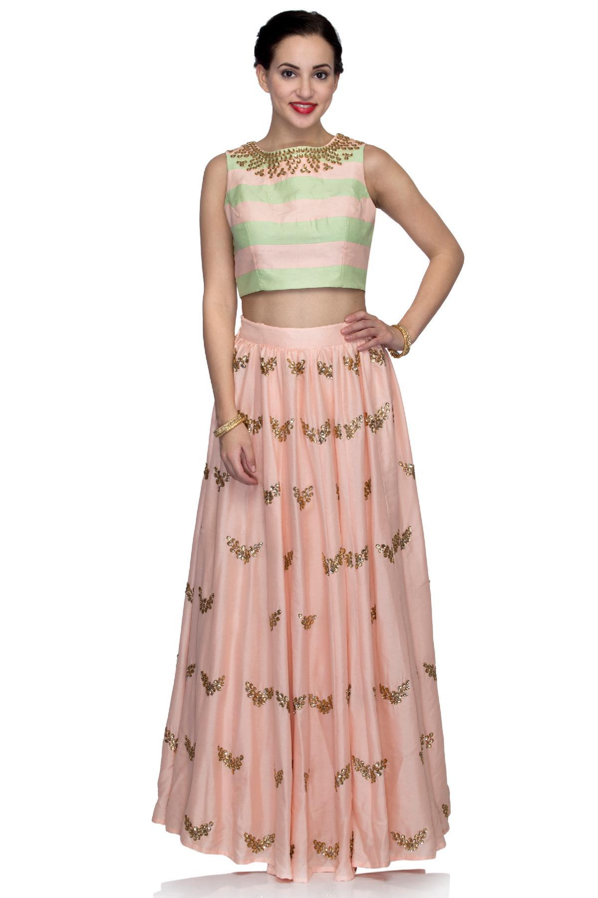 28ccfadee39a ... Trinesha's Closet ethnic Stone Work Crop Top and Skirt Mint Green and  Peach ethnic-crop ...