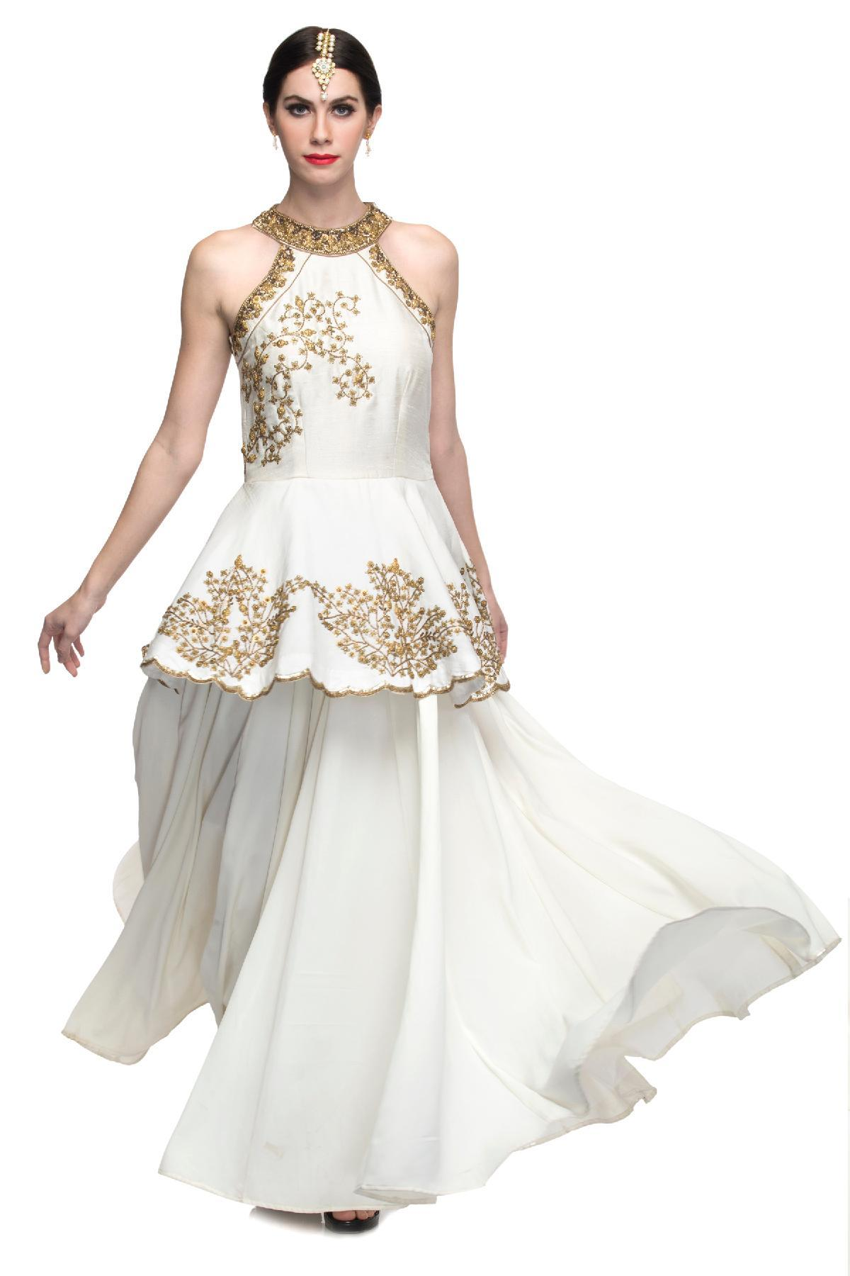 Off White The Antique Gold & White Gown by Philicia for rent online ...