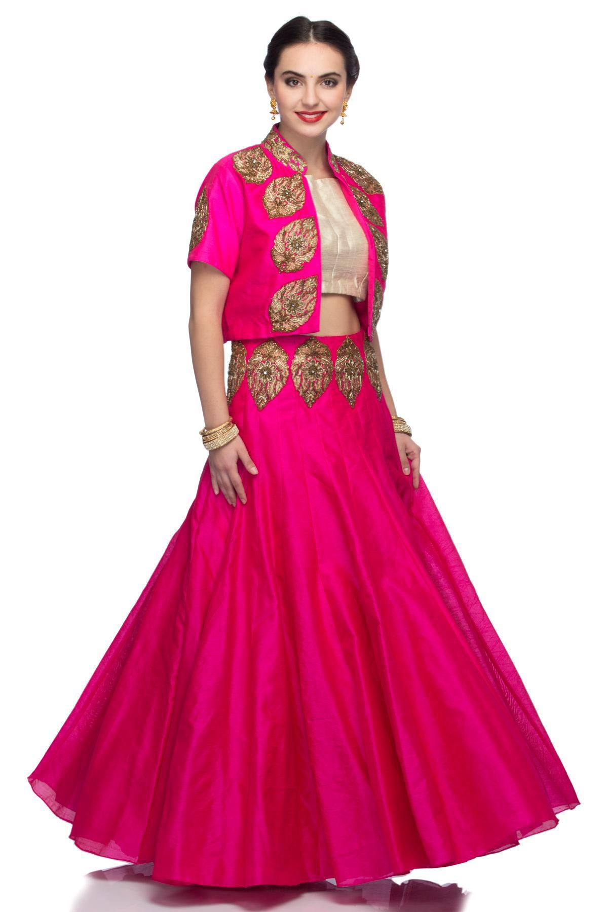 09c0692bd6f1 Fuchsia Fuchsia Skirt with Golden Crop Top and Fuchsia Embroidered ...