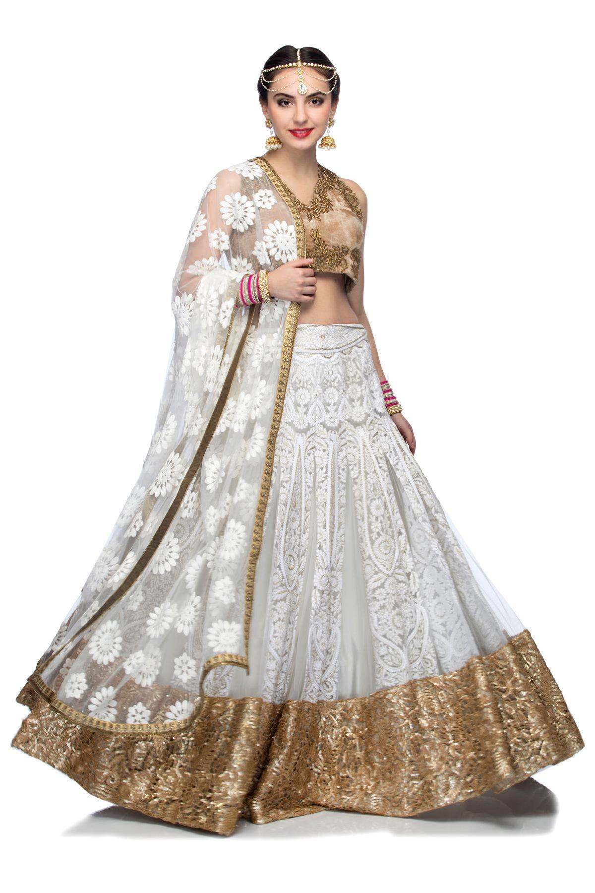 White Gold White Embroidered Lehenga With Golden Velvet Blouse By Violet By Preeti Singhal For Rent Online Rent It Bae