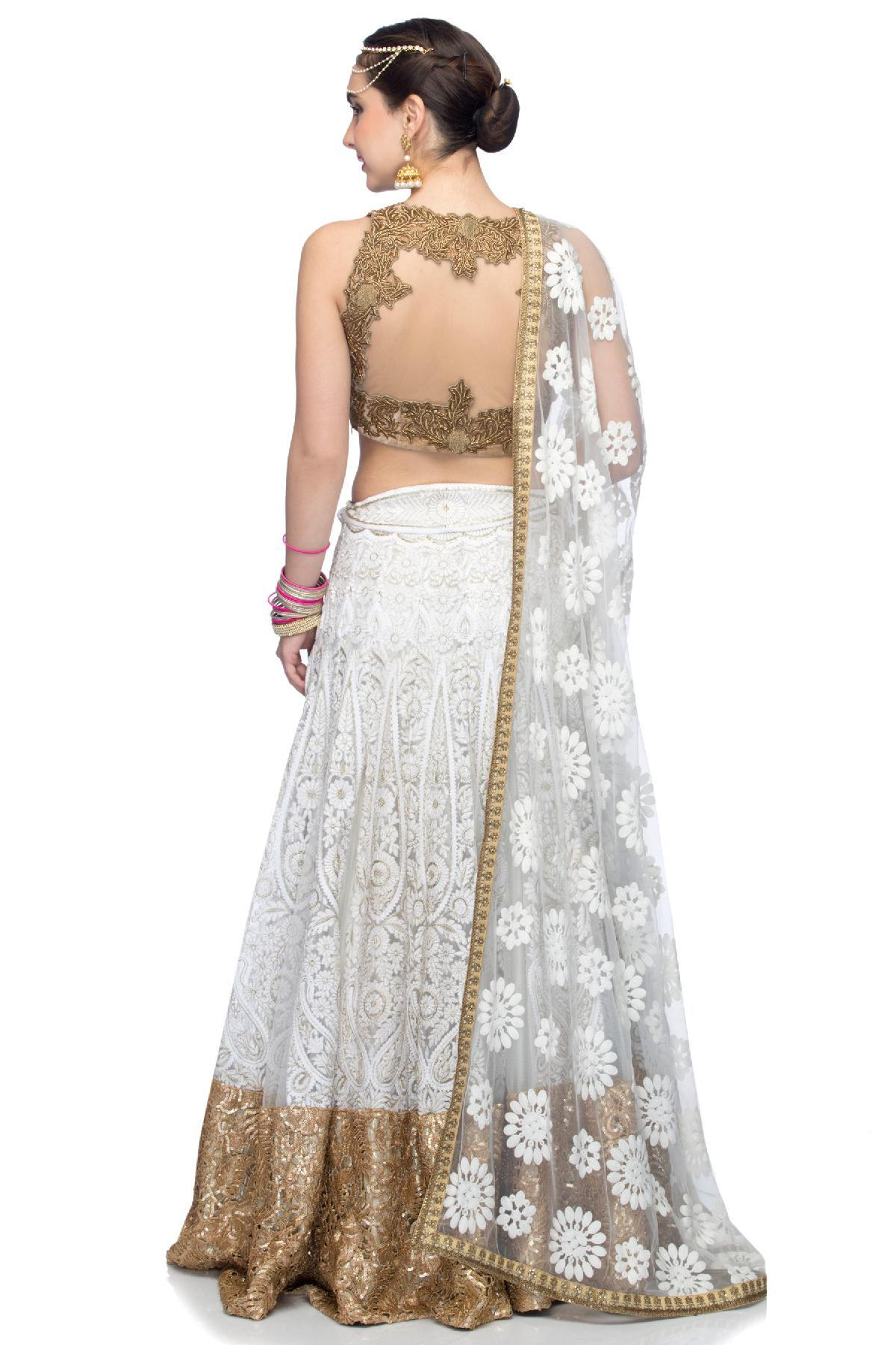 c0148f6aac1fca ... Violet by Preeti Singhal ethnic White Embroidered Lehenga with Golden  Velvet Blouse White & Gold lehenga ...