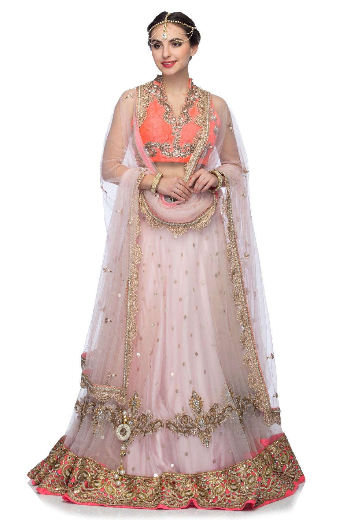 82a318bb4ab7fc Pink & Fuchsia Pink Lehenga Set with Embroidered Motifs by Violet by ...