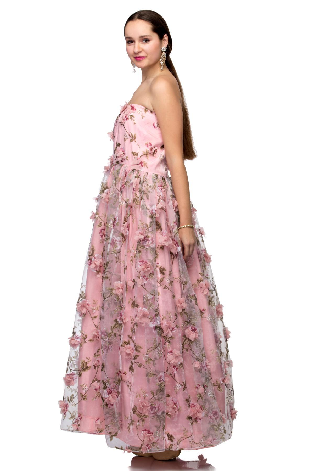 Baby Pink Floor Length Gown with Pink Flowers by Meenakshi Makkar