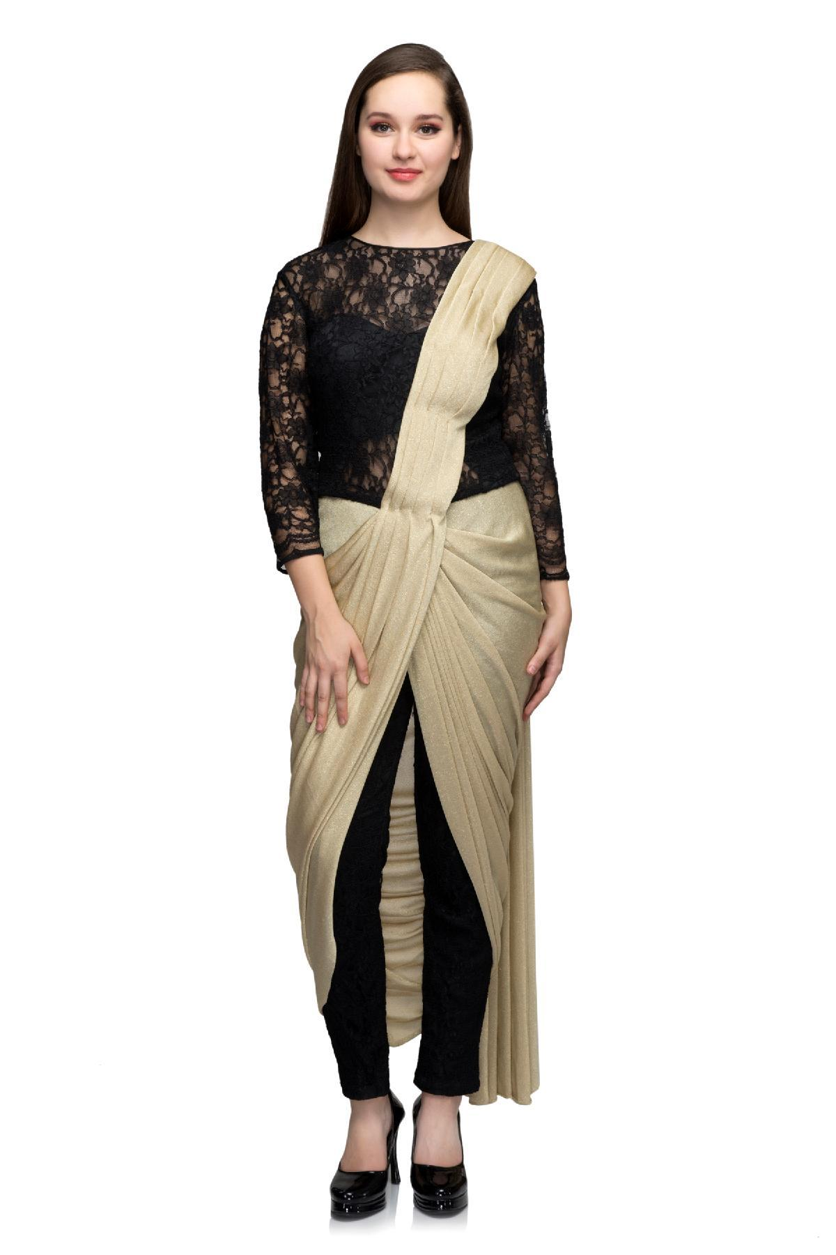 Black & Golden Golden & Black Draped Saree Gown by ONRAA for rent ...