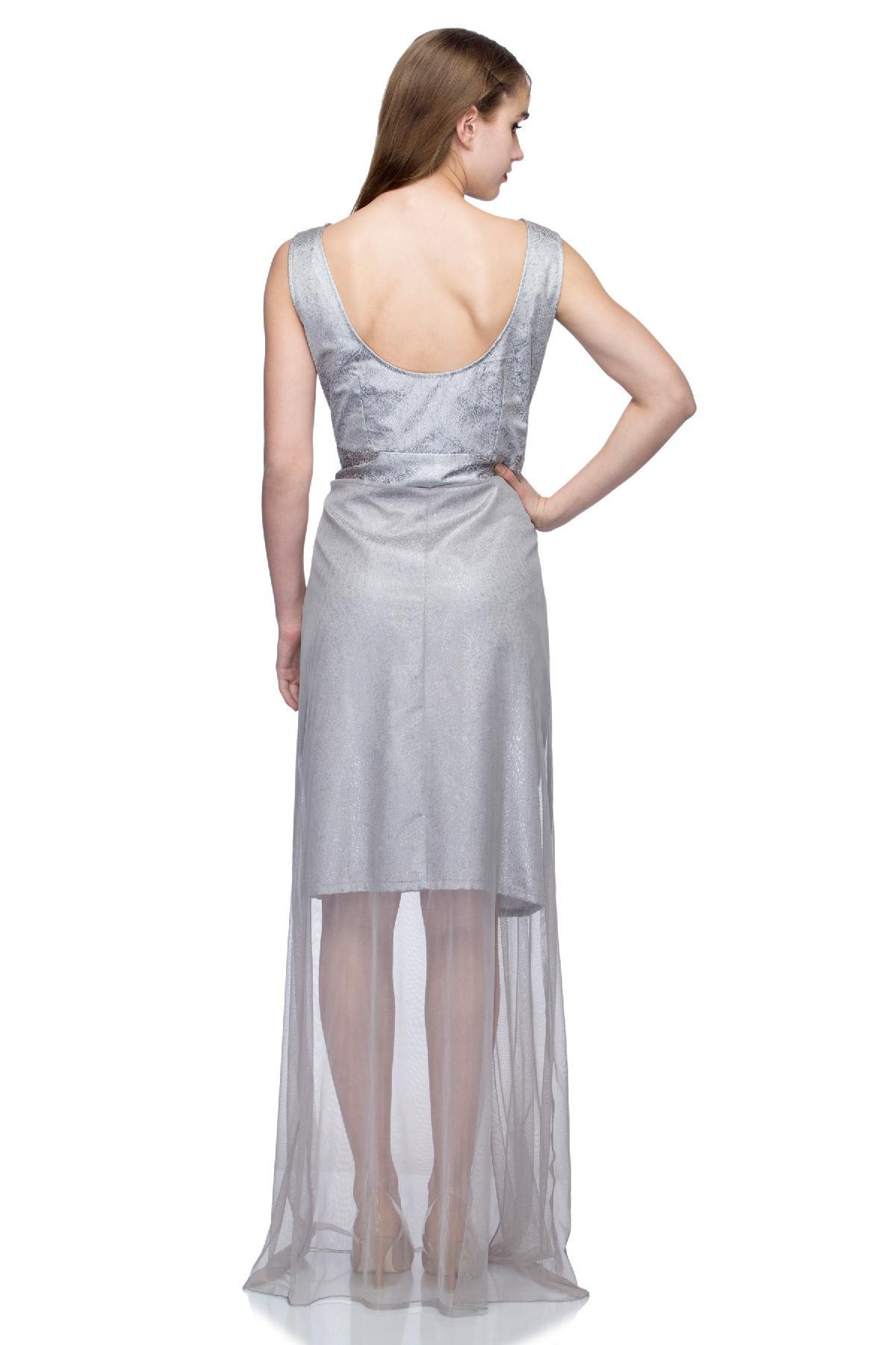 Grey Brocade Sheer Gown by Trendy Diva for rent online   RENT IT BAE