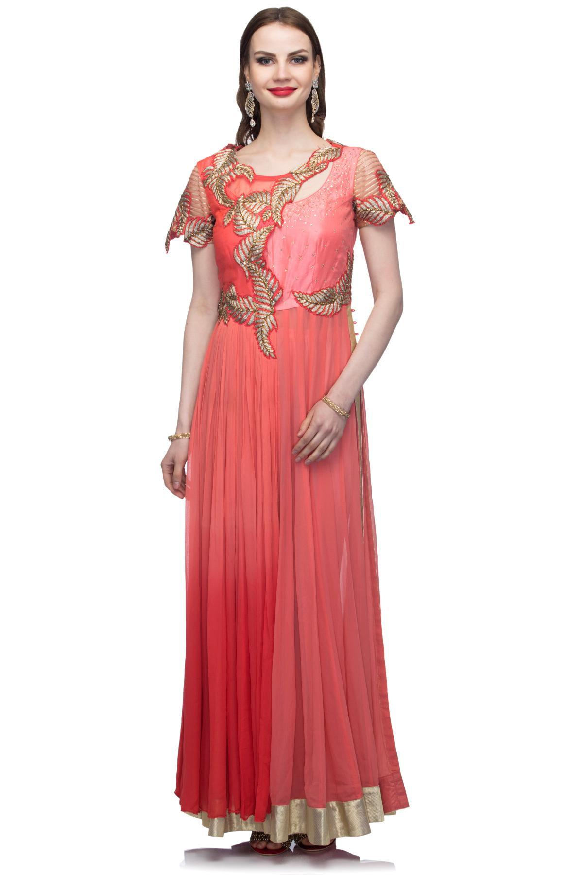 Baby Pink Baby Pink Embroidered Anarkali by Abhilasha & Abhishek for
