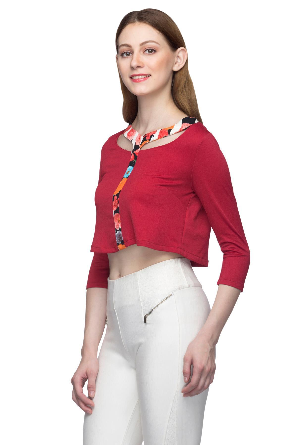 c9acec4694bc12 ... MADAME clothing Retro Crop Top Deep Red crop-top for rent ...