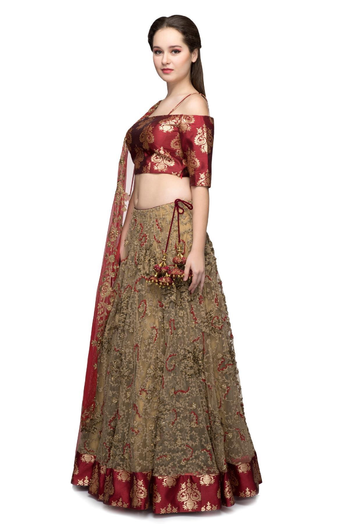 396dd64fcde875 Gold   Wine Cold Shoulder Crop Top   Lehenga by Ministry of Design ...