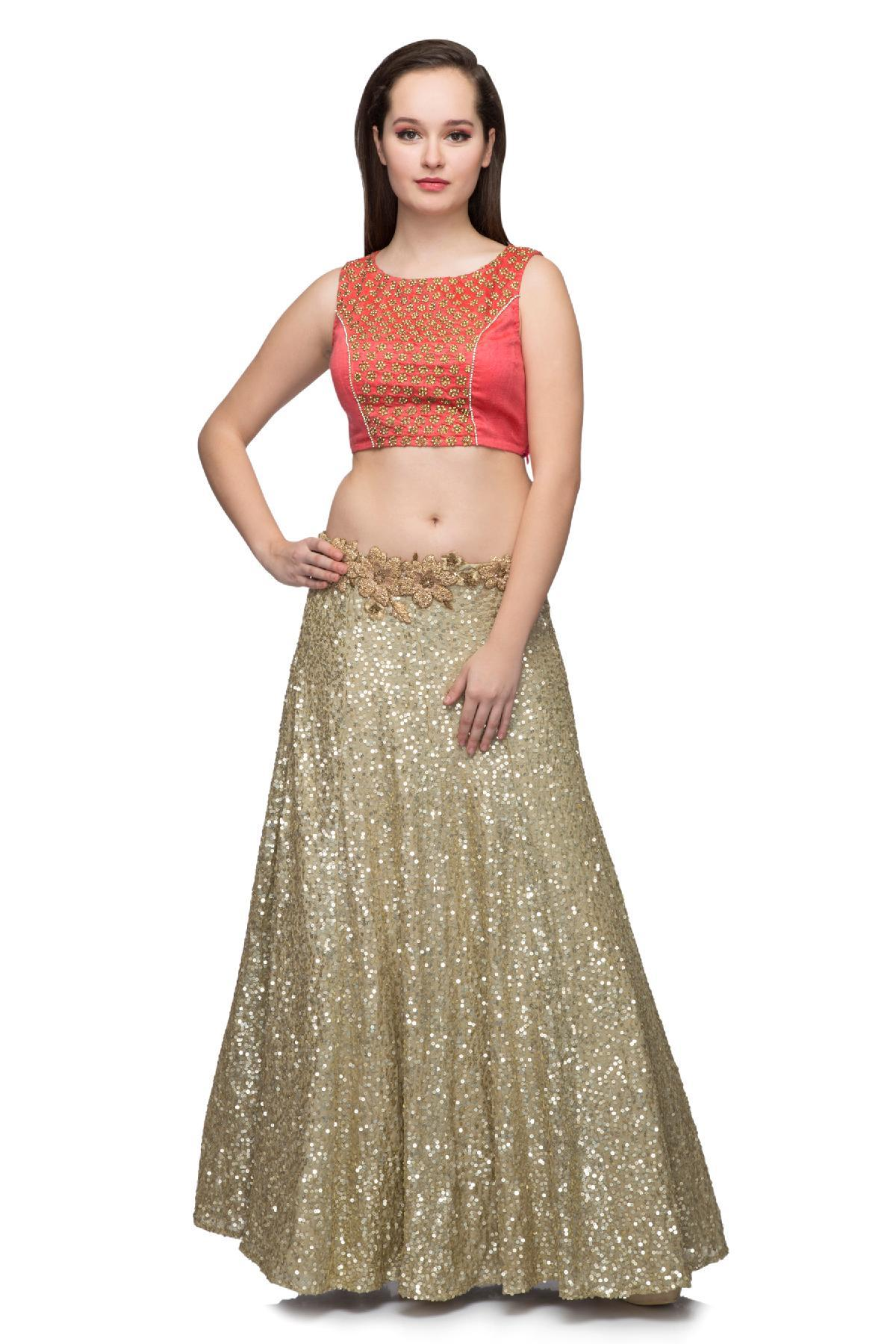 967d3c14e1490 Gold   Coral Crop Top   Skirt by Ministry of Design for rent online ...