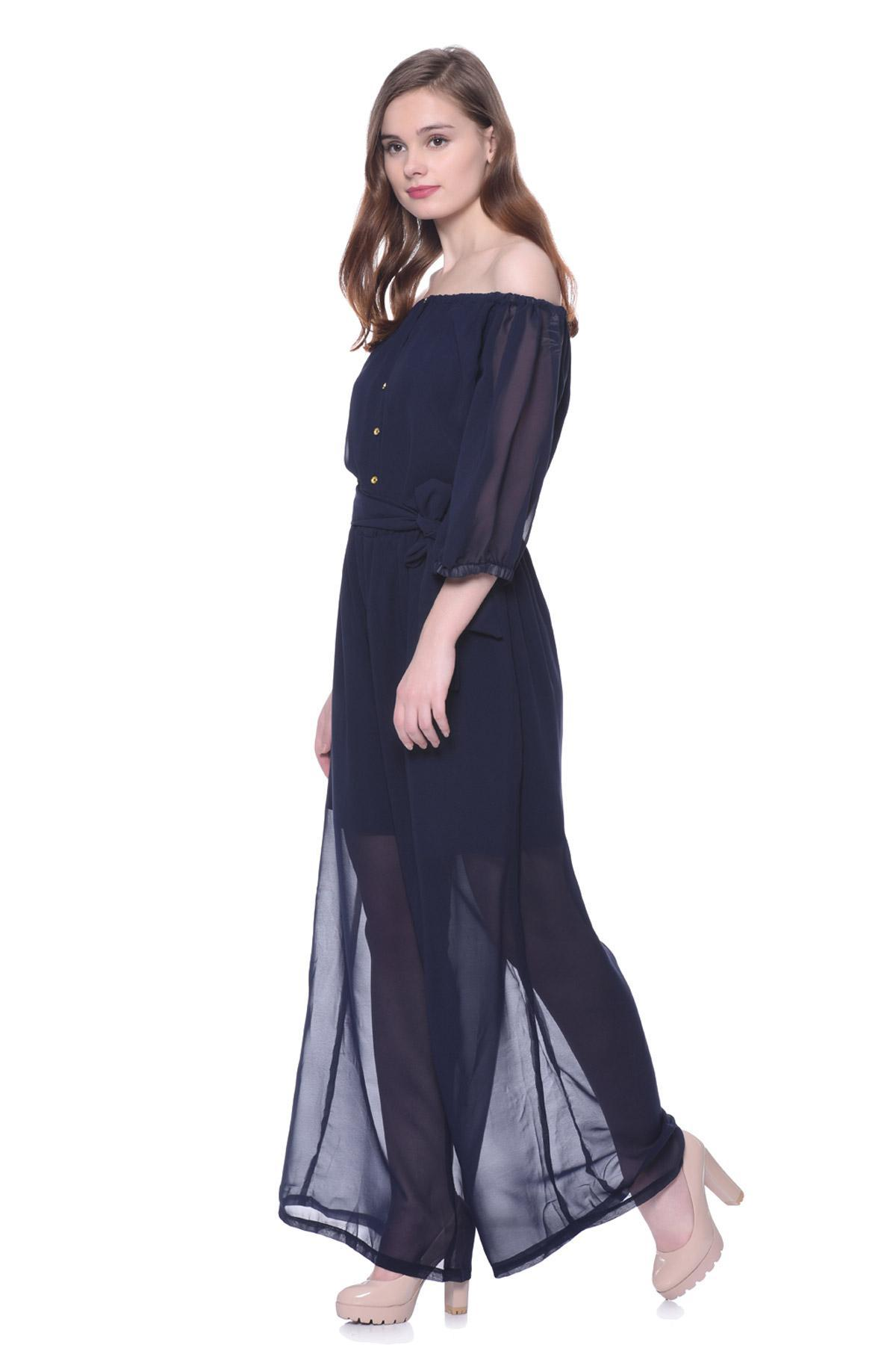 ff16bbffee3 ... Uptownie 101 clothing Gone With The Wind Off-Shoulder Jumpsuit Navy  Blue jumpsuit for rent ...