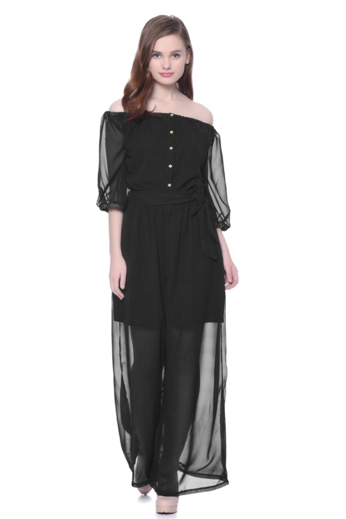 daf87b485ab06 Black Gone With The Wind Off-Shoulder Jumpsuit by Uptownie 101 for ...