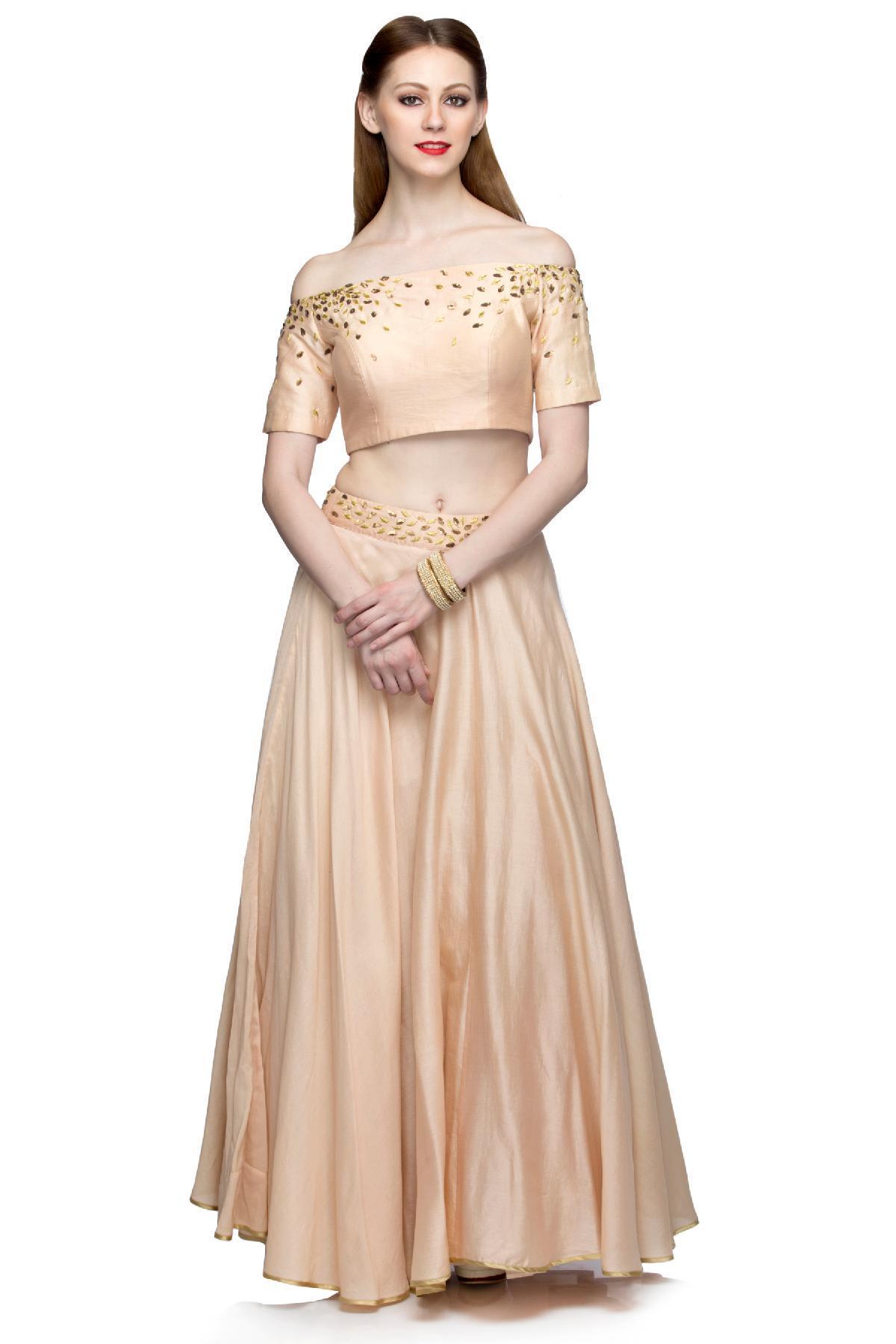 3a95b5c60c0d0 Ivory   Bronze Off Shoulder Crop Top Skirt by Salt and Spring for ...