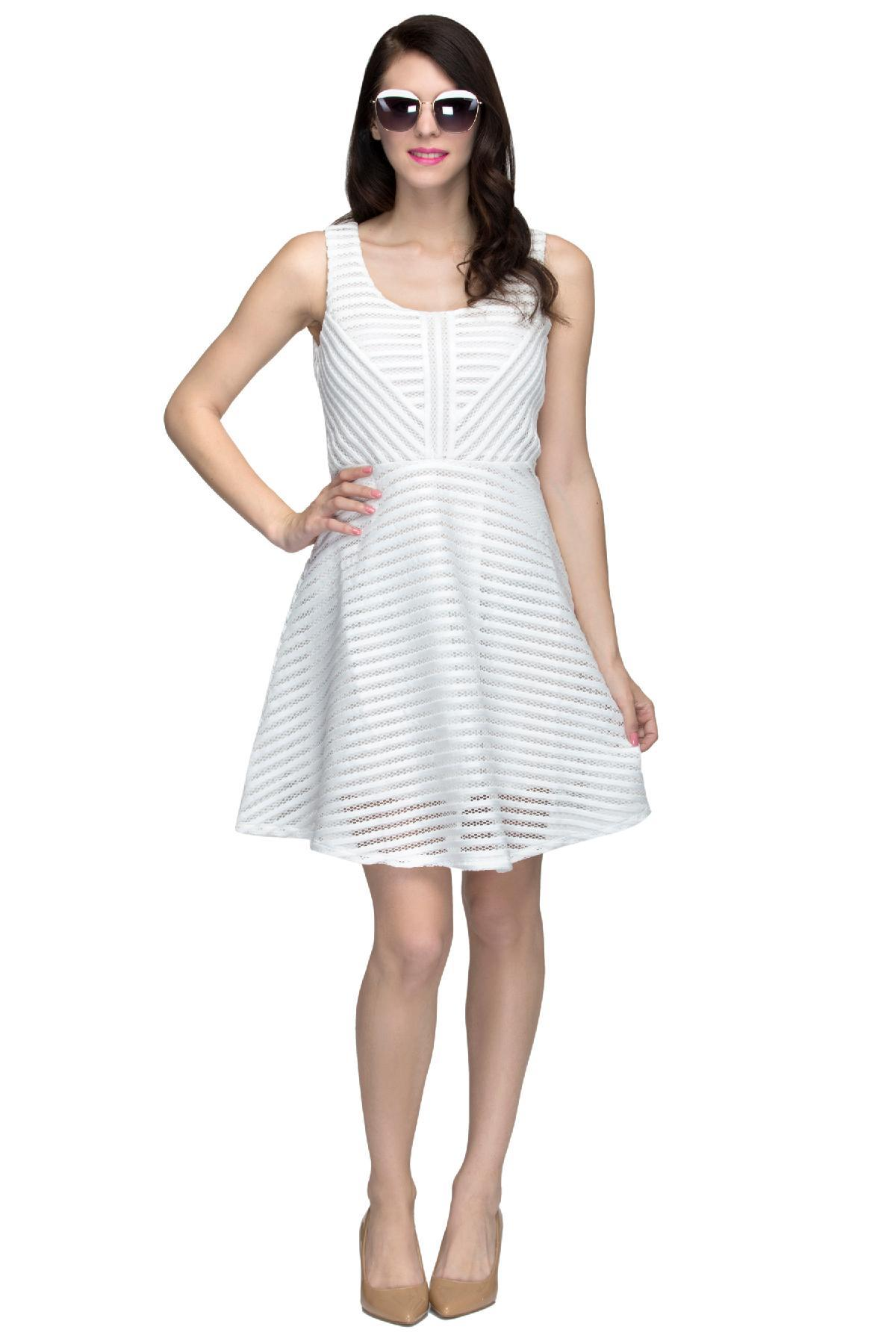 67bc2715 White Striped Mesh Skater Dress by LULU AND SKY for rent online ...