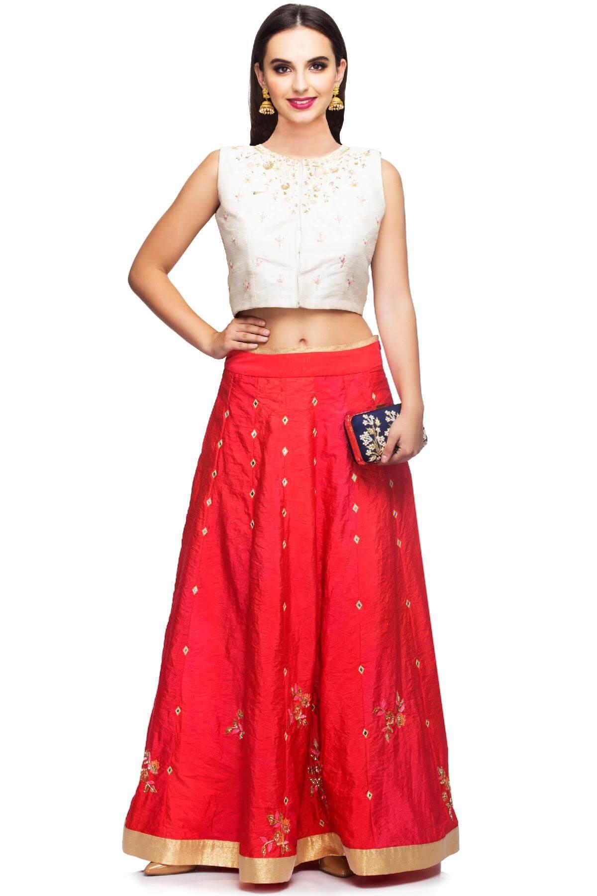 b466b927c01123 Rouge Pink   Off White Crop Top   Skirt by Ayanaansh by Mayanka ...