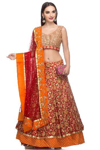 cec42ade84080d Ayanaansh by Mayanka Gupta ethnic Bridal Lehanga Set English Red   Orange  lehenga for rent