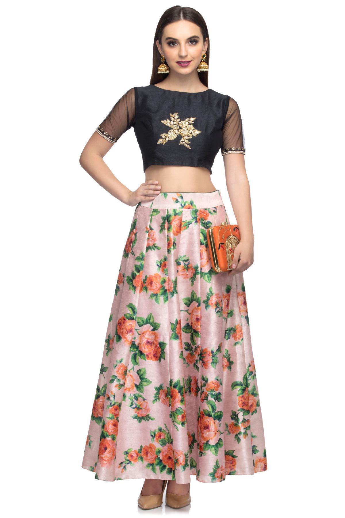 bc910dfac05f7 Lavender   Black Floral Skirt crop top by Ayanaansh by Mayanka Gupta ...