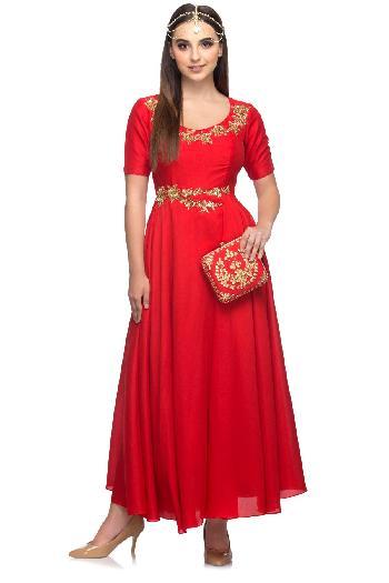 f9ec310c2fe410 Ayanaansh by Mayanka Gupta ethnic Long Anarkali Gown Dress Red ethnic-gown  for rent