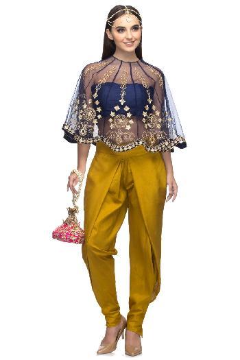 3cdffa91cc0491 Ayanaansh by Mayanka Gupta ethnic Cape with Dhoti Pants Blue   Mustard  dhoti-set for