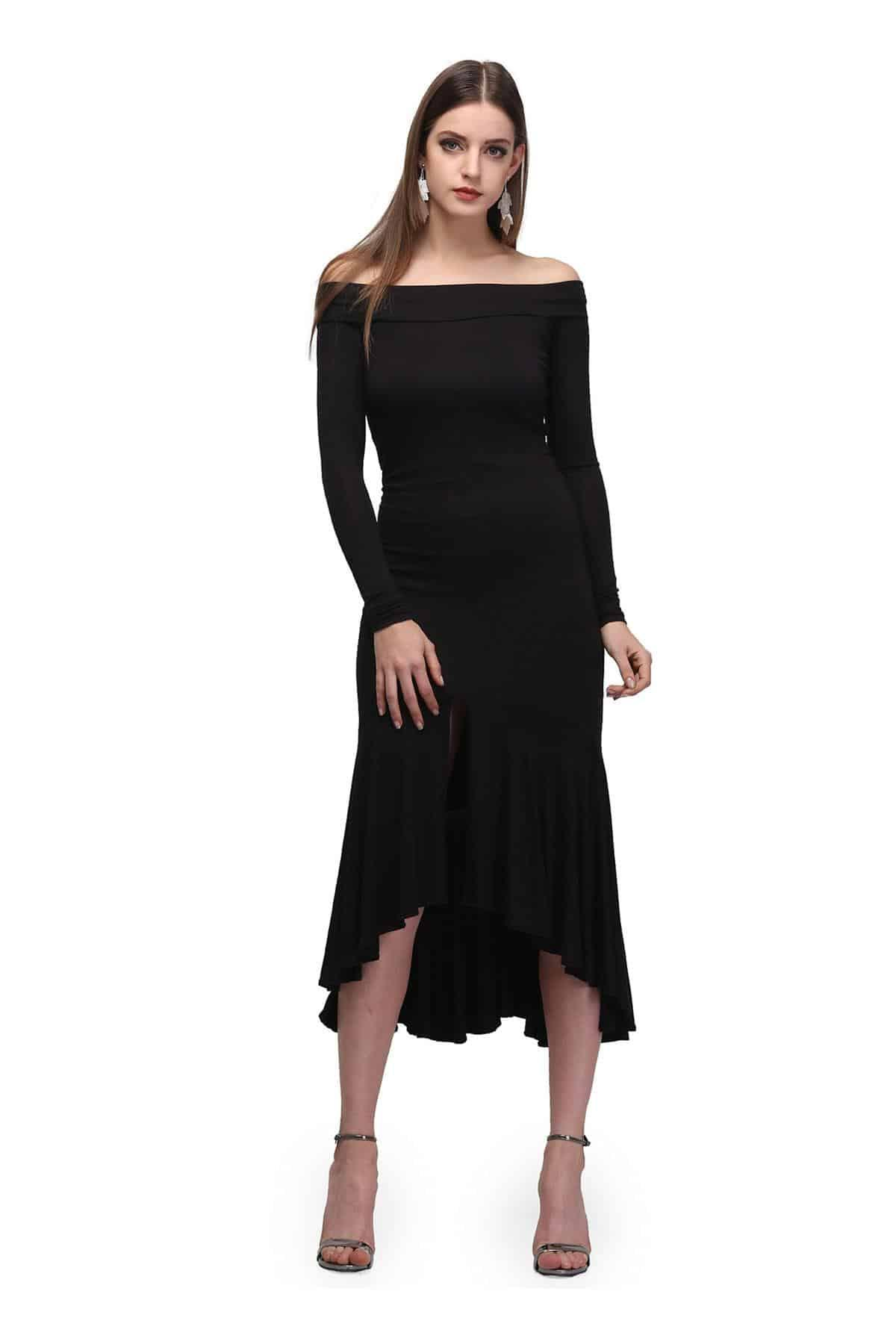15c236231d8 Black Black Off shoulder Midi Dress by Sudeshna Urban for rent ...