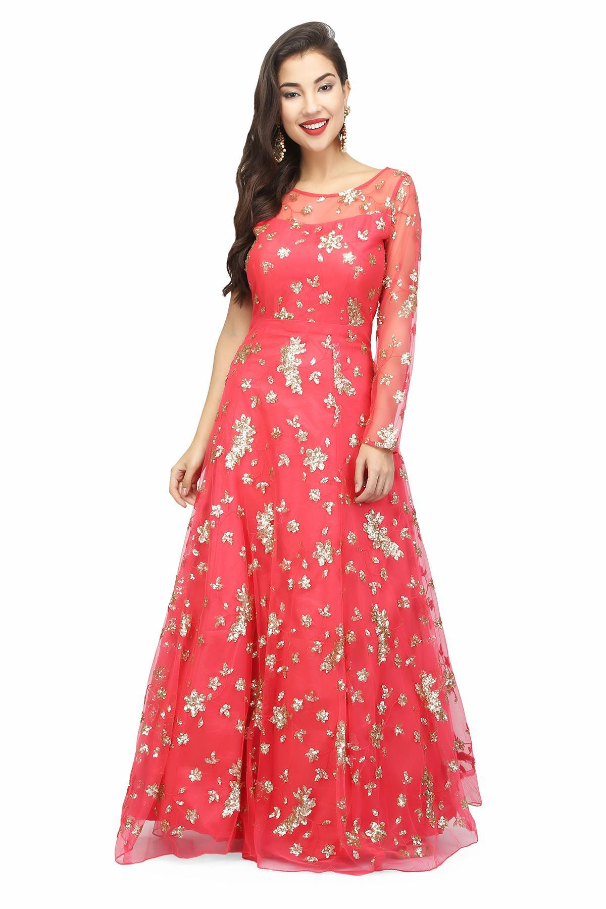 Tomato Red Embellished Red Gown by Aaina by Aditi for rent online ...