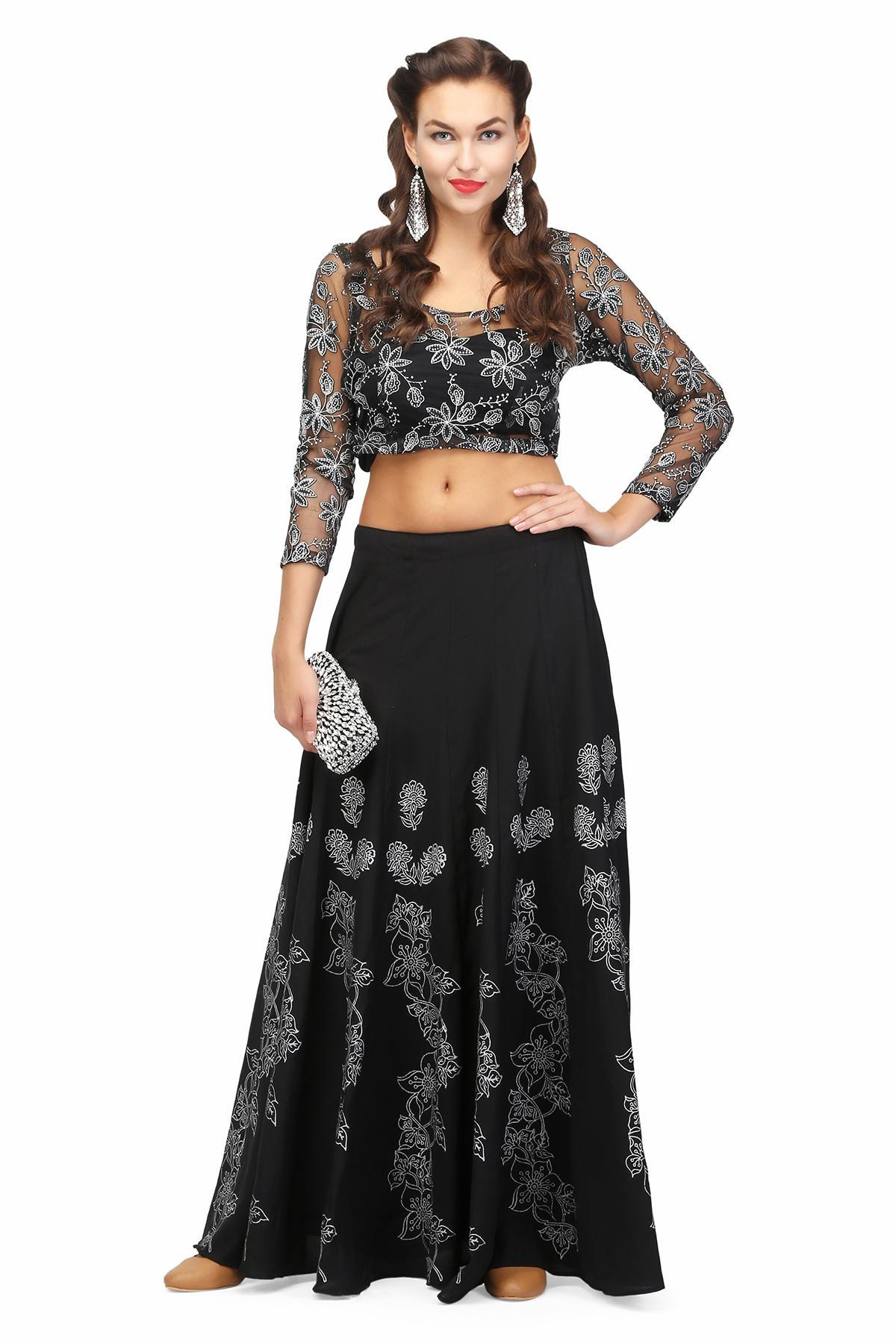 c0046ff01b6f6 Aaina by Aditi ethnic Indo Western Black   White Crop Top Skirt Black  ethnic-crop ...