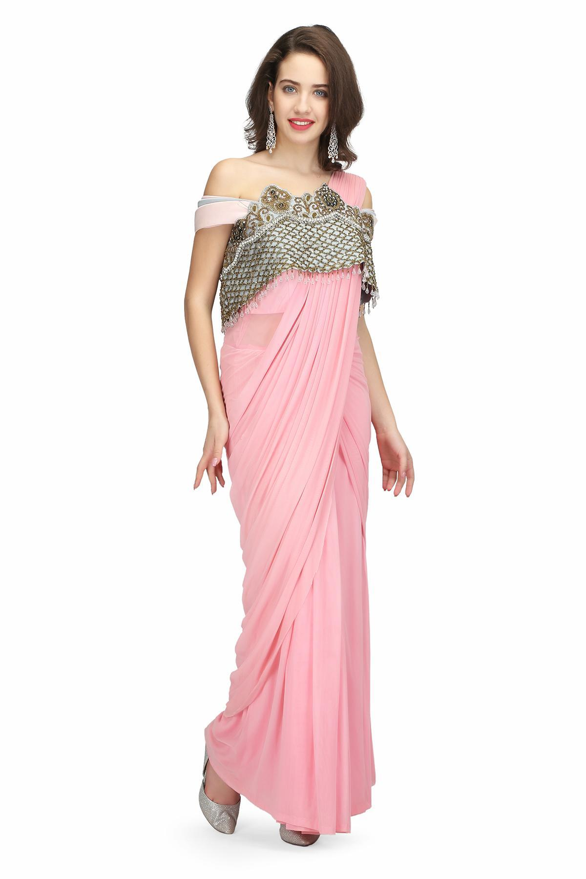 Pink And Grey Pink Cape Drape Saree By Nayna Kapoor For Rent Online Rent It Bae