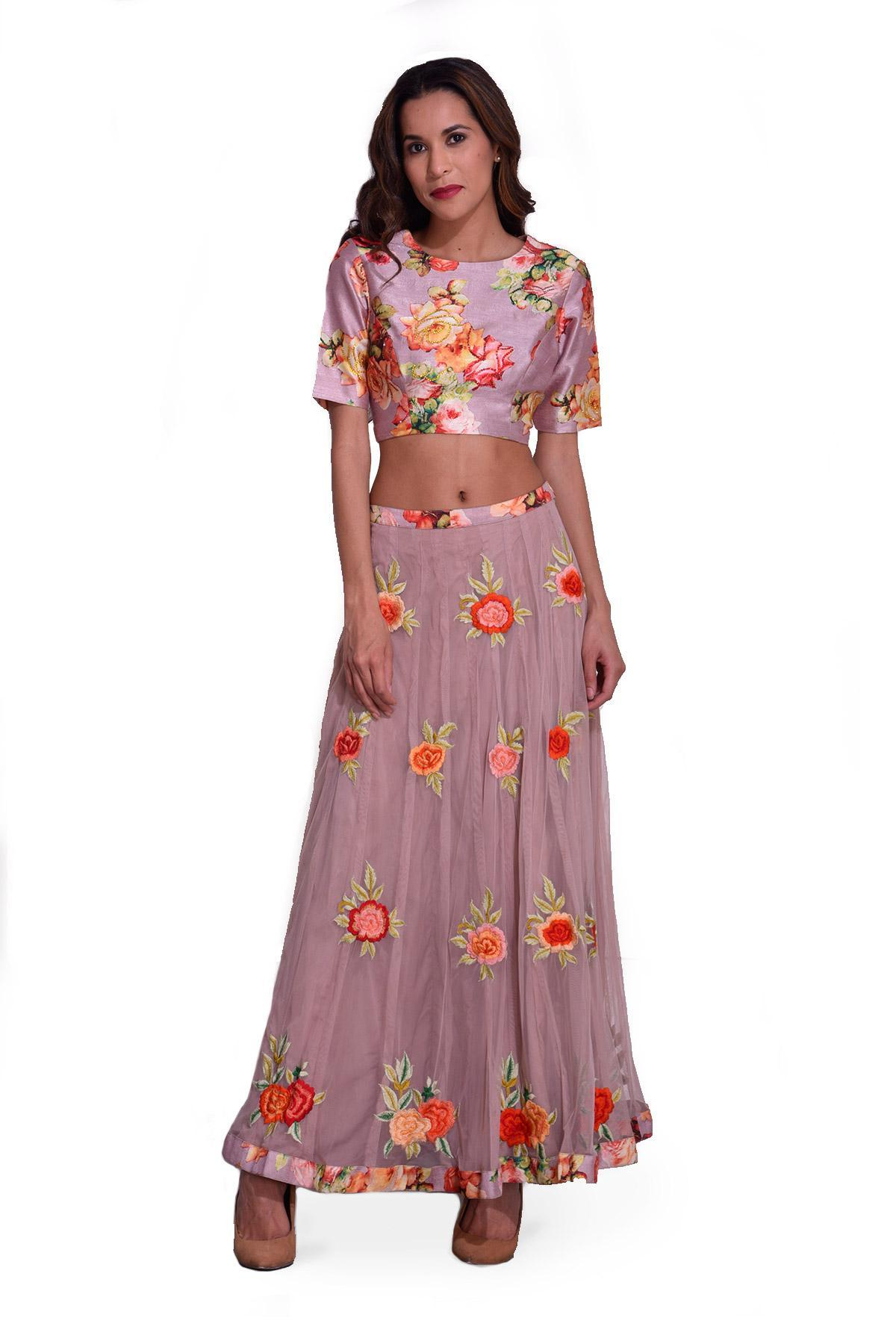 0b3c2cfb35a872 Flamingo Pink Floral Top and Skirt by Wishlist by Abha Teotia for ...