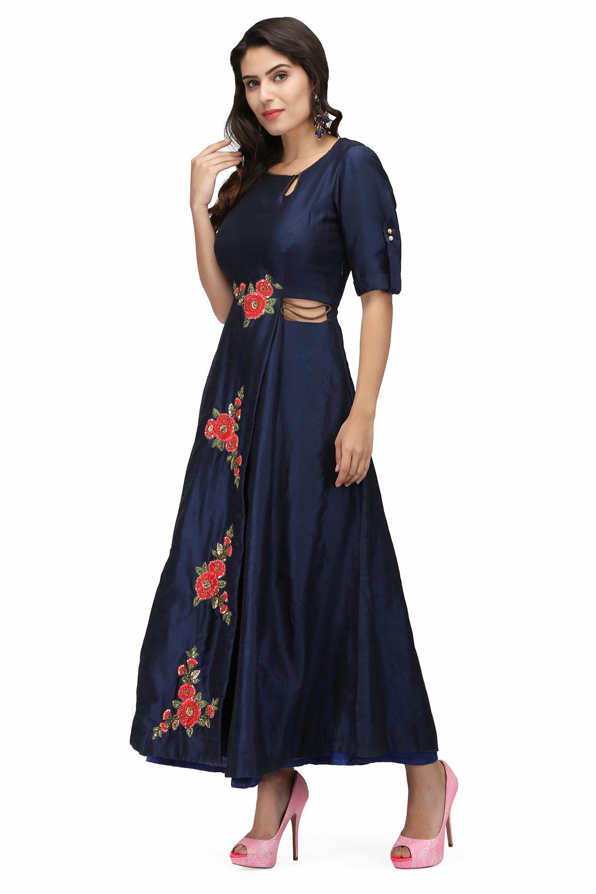Midnight Blue Floral Blue Gown by Violet by Preeti Singhal for rent ...