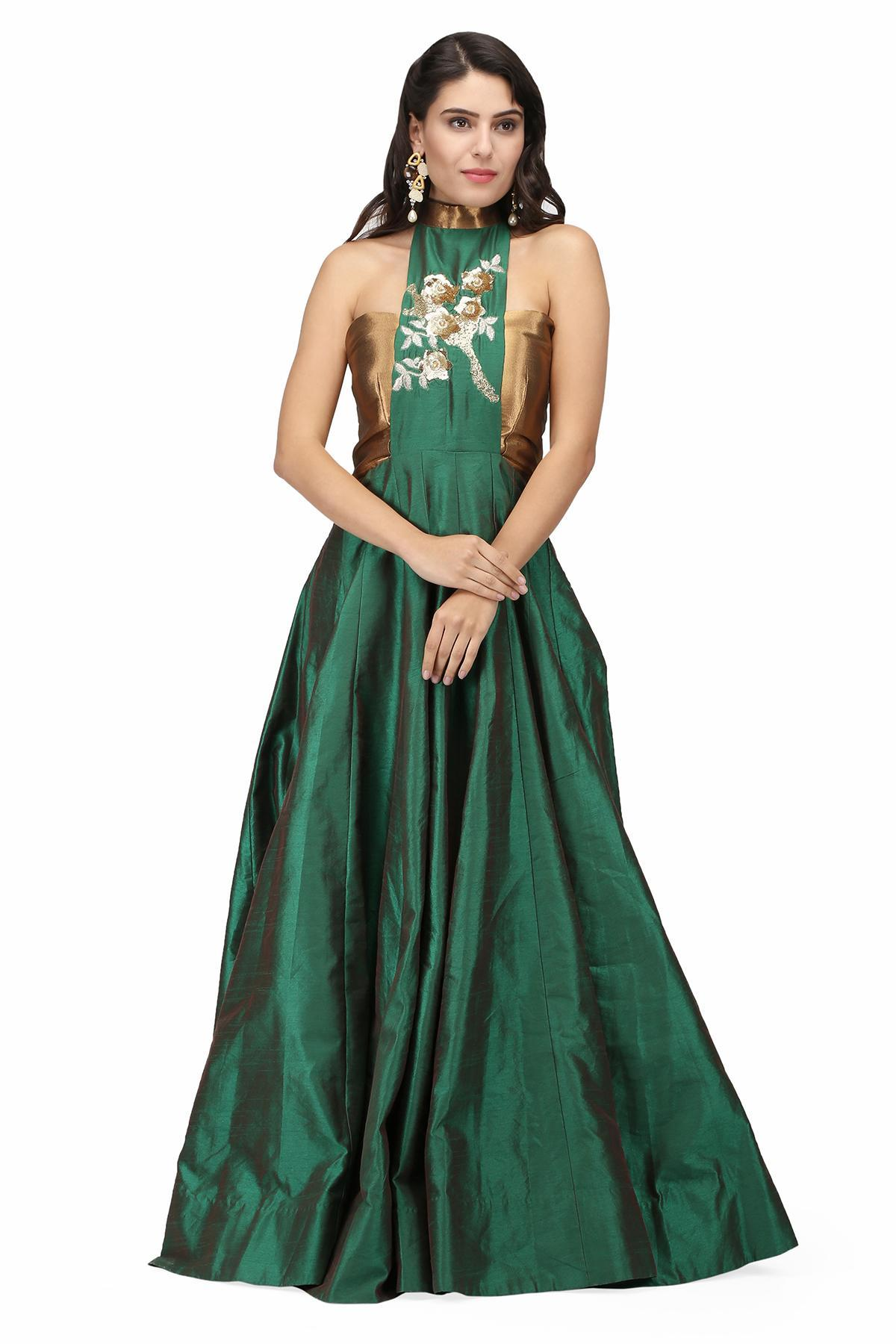 72b06347 Emerald Green Sultry Halter Gown by Violet by Preeti Singhal for ...