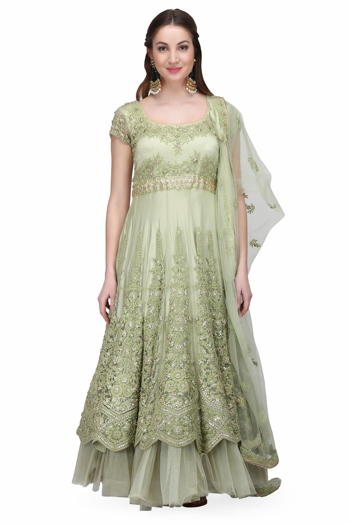 9ec1e87f Pistachio Pistachio Green Gown by Nikunj Sharma for rent online ...