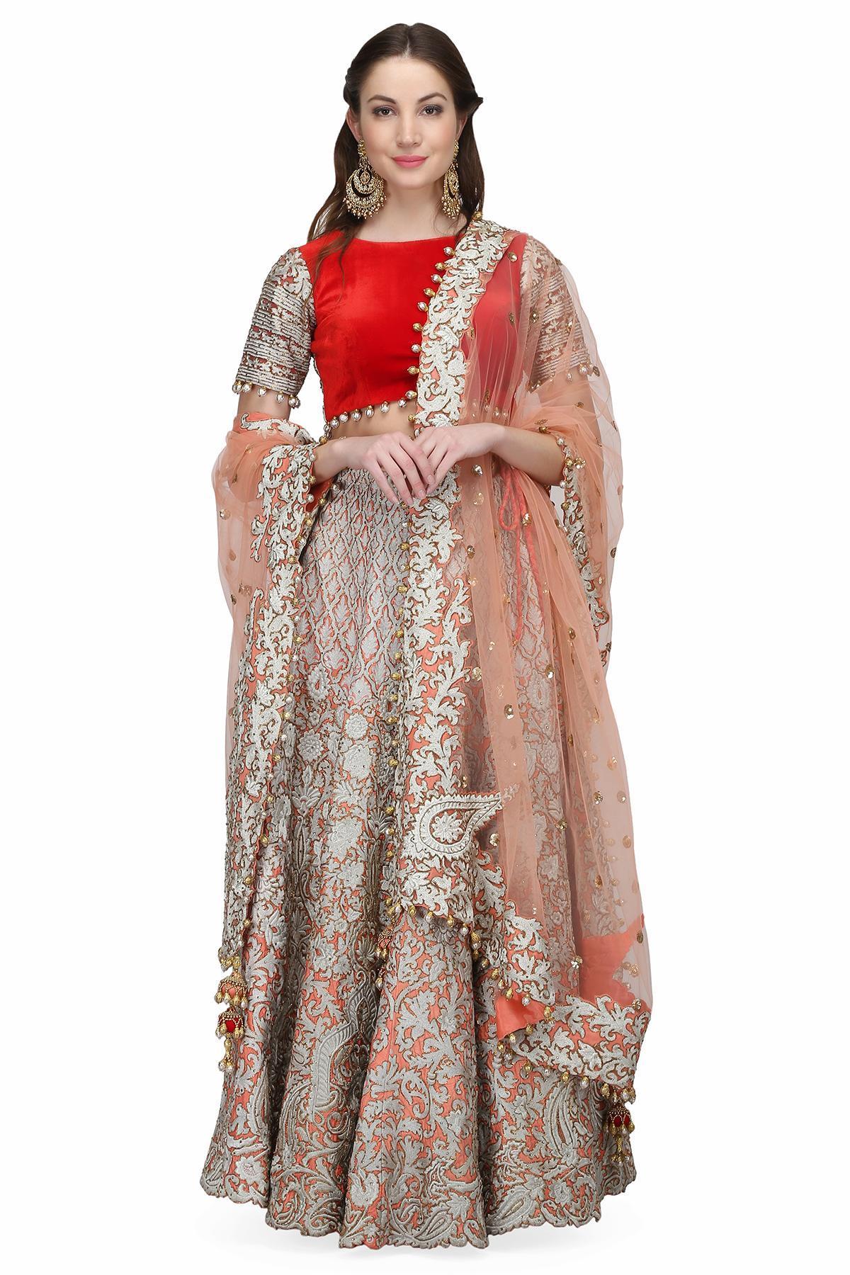 fc1a50b748e2ab Blush Pink, Red and Ivory The Pink Thread Weave Lehenga by J Kherwa ...