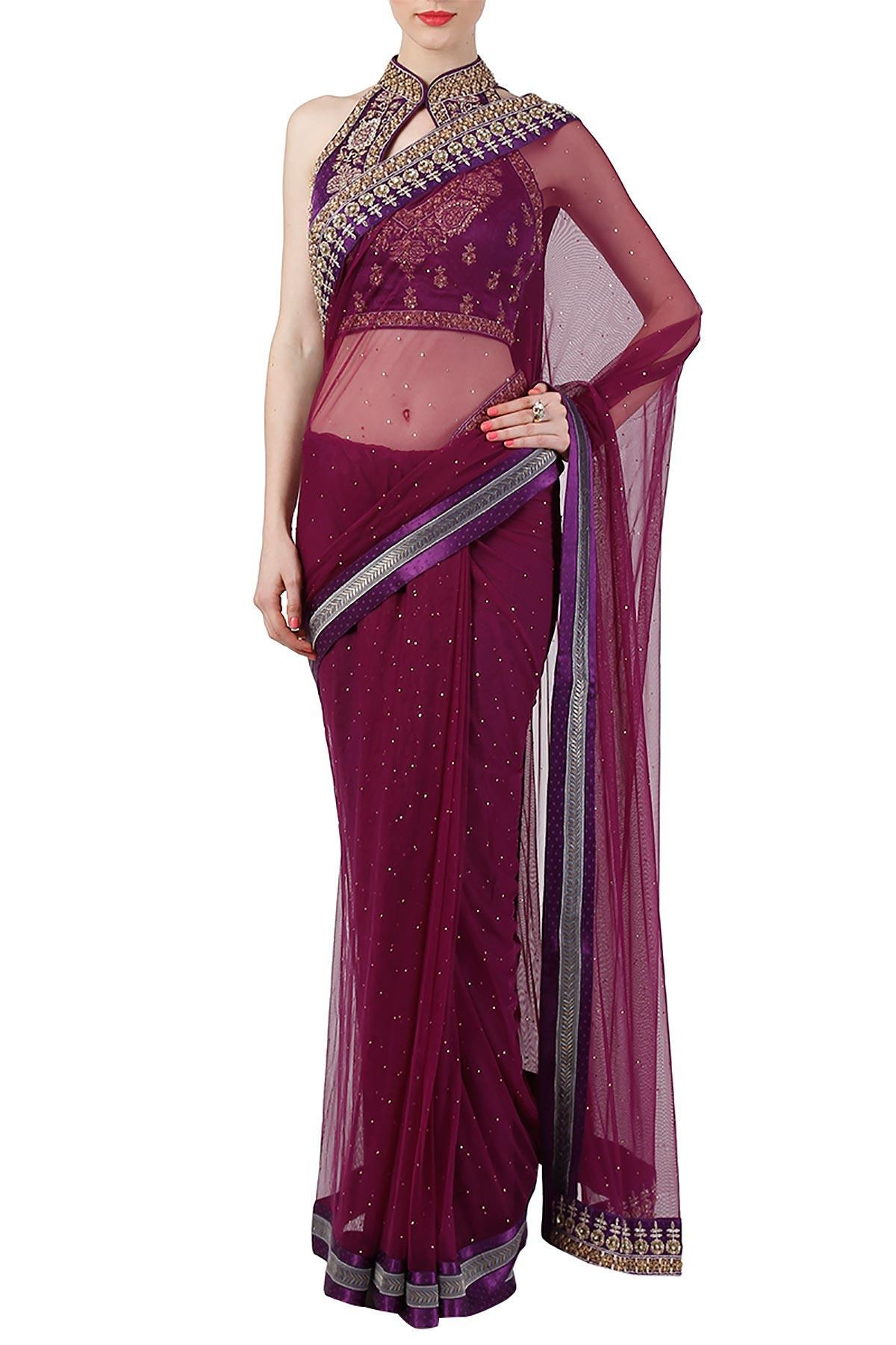 2f297243beb3ed Wine Net Saree With Halter Neck Blouse by Ritu Kumar for rent online ...