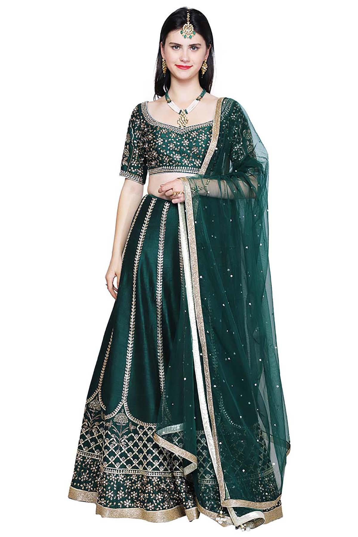 f887993dc373b Green Emerald Green Lehenga by Pooja Peshoria for rent online
