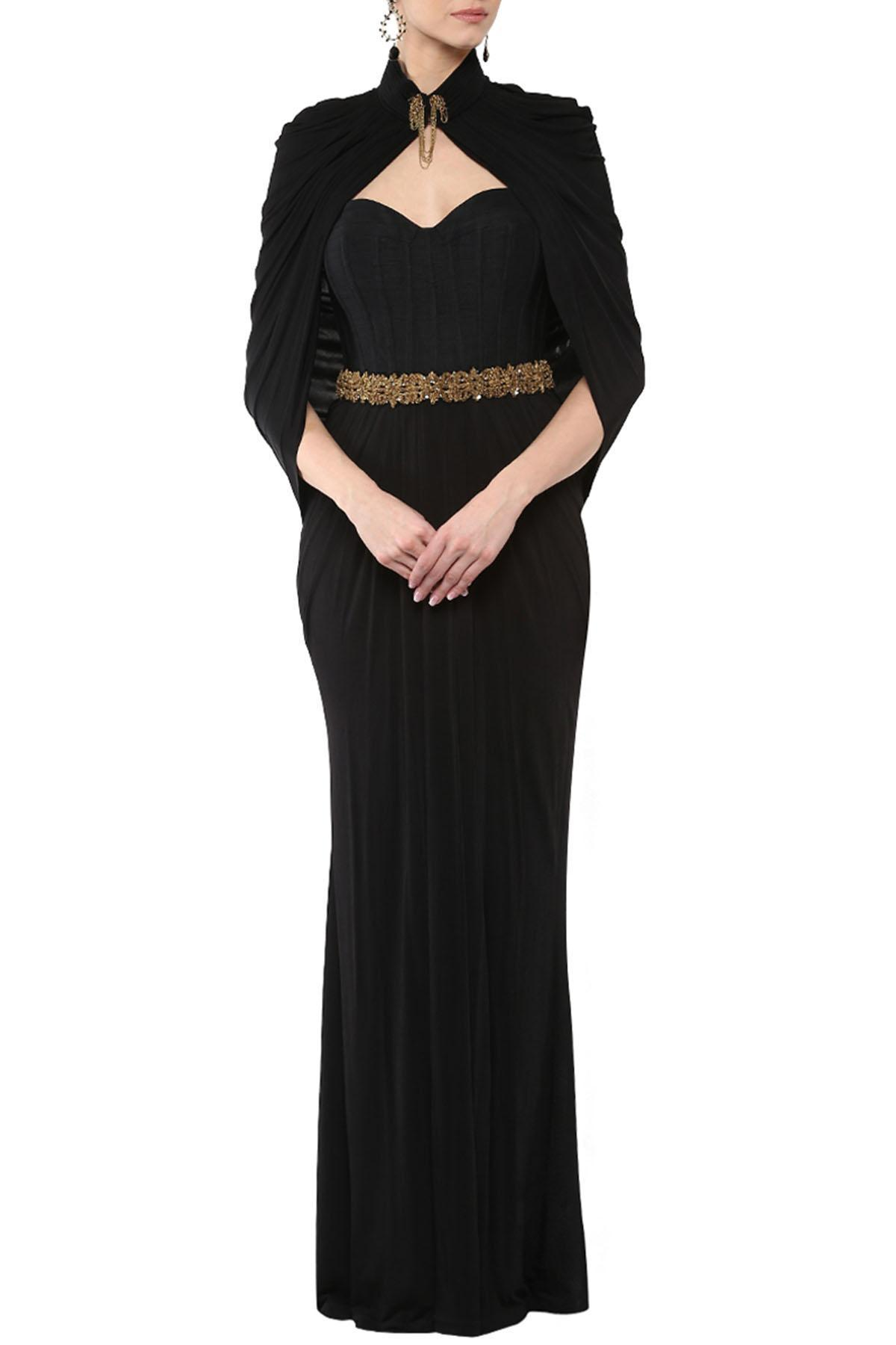 269321331f03 Chick Black Corset Cape Gown by Shantanu And Nikhil for rent online ...