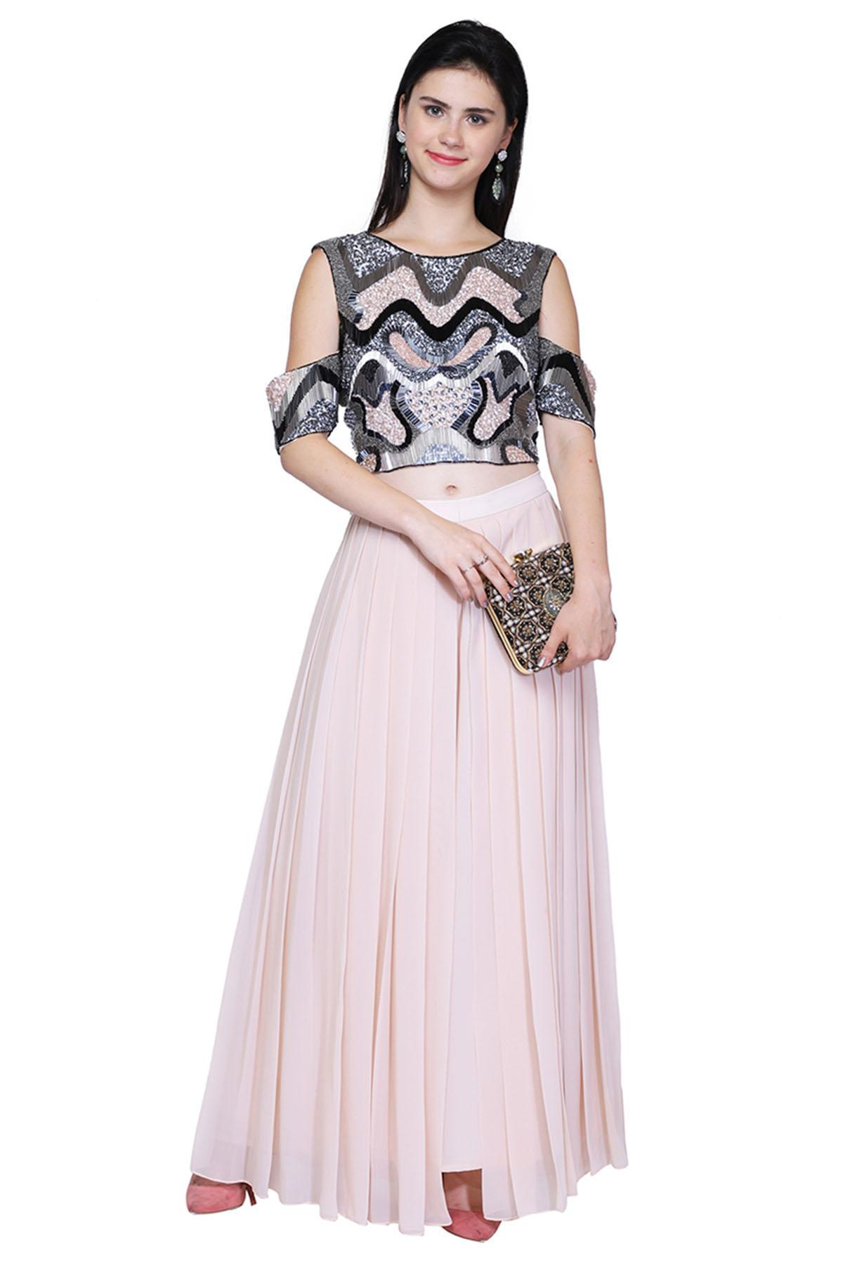 4e13f94d9950 Pink Embellished Crop Top With Palazzo Pants