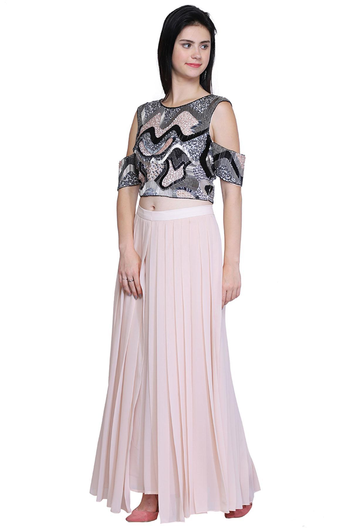 bad06e3e8e6f ... Ruhmashsa ethnic Pink Embellished Crop Top With Palazzo Pants Electric  nude with a hint of blue ...