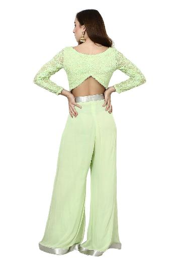 2e99475bec9e REN by Rishi & Neha ethnic Lime Green Crop Top & Palazzo Set Lime Green  ethnic