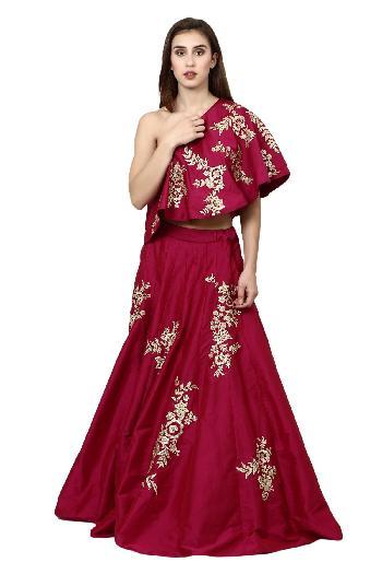4da7556a0621ca Violet by Preeti Singhal ethnic One Shoulder Crop Top Skirt Magenta ethnic- crop-top