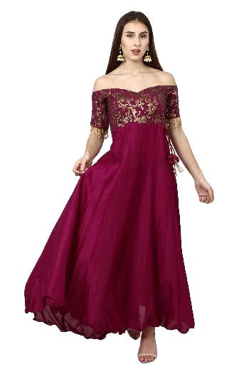 22c0336070d144 Floral Crop Top Skirt. ₹2,999 rent ( 18.0K MRP). Aaina by aditi ethnic Off  Shoulder Sequin Gown Purple ethnic-gown for rent
