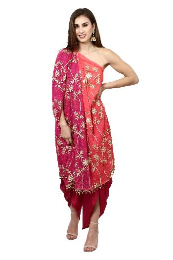 7fdc7be17d45b8 Aaina by aditi ethnic One Shoulder Dhoti Set Magenta and Orange dhoti-set  for rent