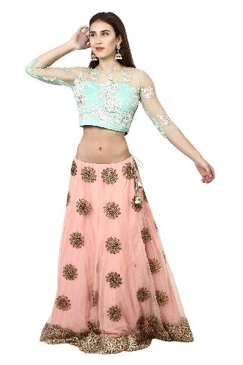 43d36817ad5ab4 Aaina by aditi ethnic Pastel Crop Top & skirt Baby Blue & Peach ethnic-crop