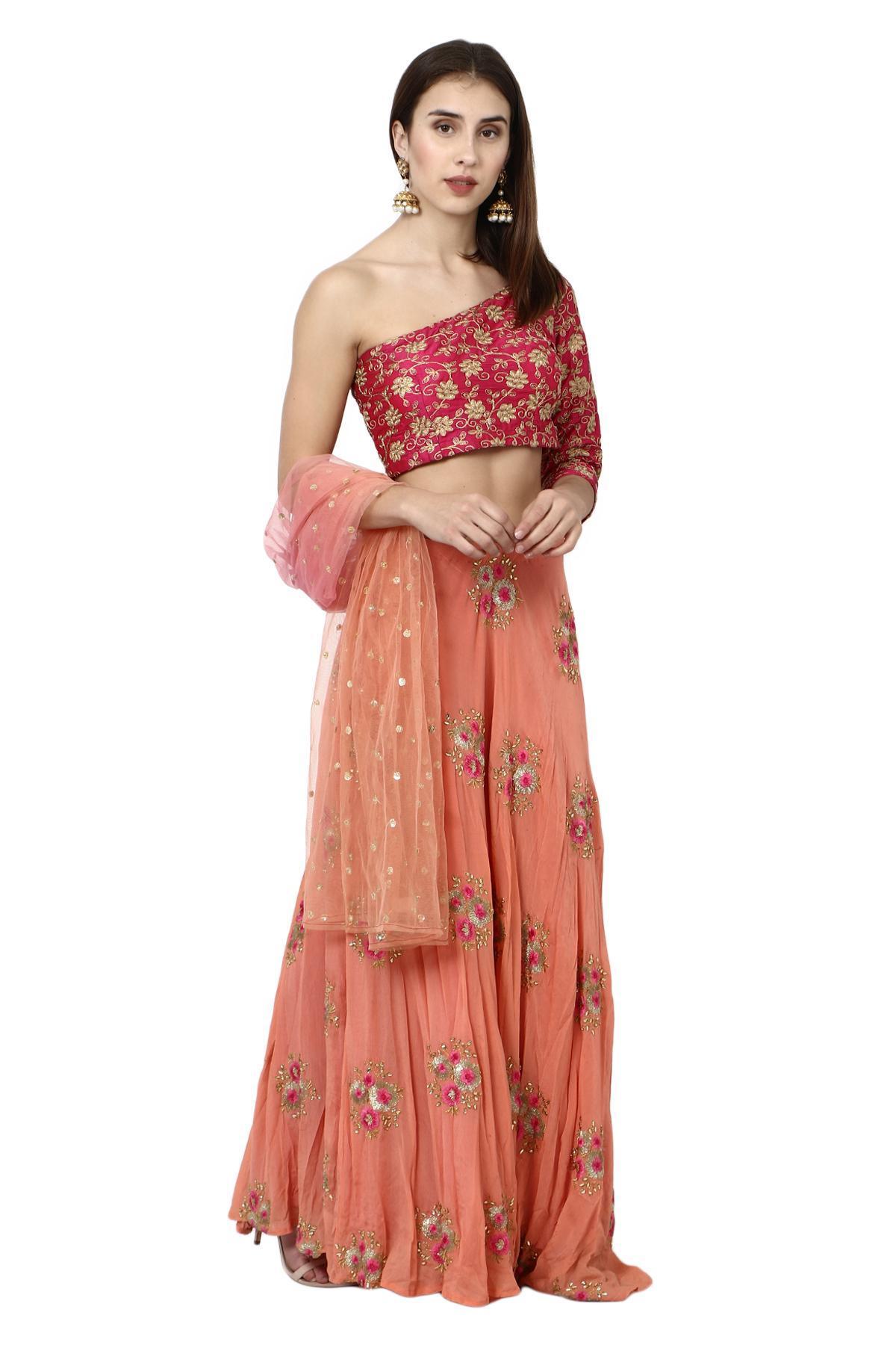 4bd9c155854ae6 Aaina by aditi ethnic One Shoulder Crop Top & Skirt Magenta & Peach ethnic- crop ...