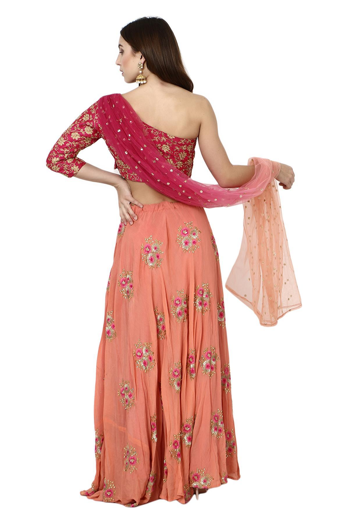 2d148a28913253 ... Aaina by aditi ethnic One Shoulder Crop Top & Skirt Magenta & Peach  ethnic-crop ...